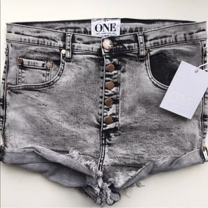One Teaspoon Denim Lovers Slouchy Shorts Gray